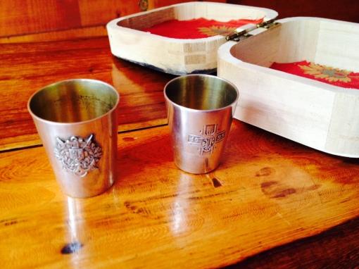 "3. Set of 2 silver schnapps ""glasses"""