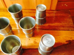 2. Set of six pewter goblets