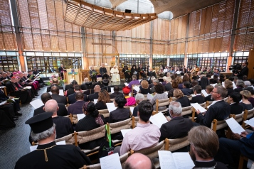 """21 June 2018, Geneva, Switzerland: On 21 June 2018, the World Council of Churches receives a visit from Pope Francis of the Roman Catholic Church. Held under the theme of """"Ecumenical Pilgrimage - Walking, Praying and Working Together"""", the landmark visit is a centrepiece of the ecumenical commemoration of the WCC's 70th anniversary. The visit is only the third by a pope, and the first time that such an occasion was dedicated to visiting the WCC."""