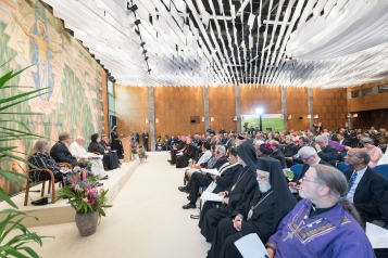 "21 June 2018, Geneva, Switzerland: Ecumenical Encounter between Pope Francis and the World Council of Churches. On 21 June 2018, the World Council of Churches receives a visit from Pope Francis of the Roman Catholic Church. Held under the theme of ""Ecumenical Pilgrimage - Walking, Praying and Working Together"", the landmark visit is a centrepiece of the ecumenical commemoration of the WCC's 70th anniversary. The visit is only the third by a pope, and the first time that such an occasion was dedicated to visiting the WCC."