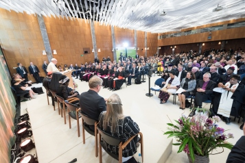 "21 June 2018, Geneva, Switzerland: Pope Francis speaks at an Ecumenical Encounter between Pope Francis and the World Council of Churches on 21 June. On 21 June 2018, the World Council of Churches receives a visit from Pope Francis of the Roman Catholic Church. Held under the theme of ""Ecumenical Pilgrimage - Walking, Praying and Working Together"", the landmark visit is a centrepiece of the ecumenical commemoration of the WCC's 70th anniversary. The visit is only the third by a pope, and the first time that such an occasion was dedicated to visiting the WCC."